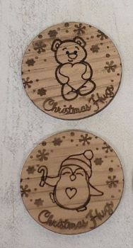 Christmas Hug Token (oak veneer) 50 pack