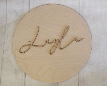 MDF Name (made to fit a 30cm circle plaque)
