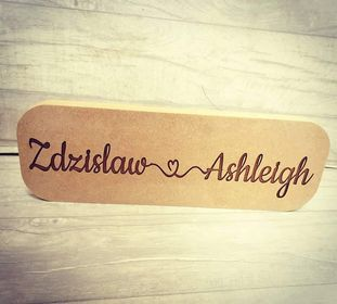 Joined by love name plaque 40cm
