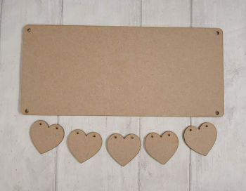 Bundle of 10 hanging hearts plaques