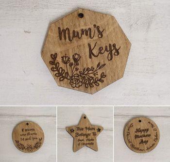 Bundle of 50 Veneer Keyrings - Mothers Day