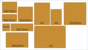 Blank 3mm MDF Plaques (Various Sizes)
