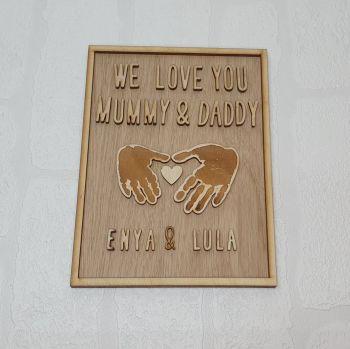 Love You Handprint Plaque