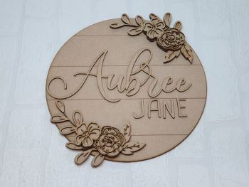 Layered Flower Double Name Plaque