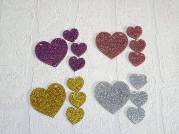 Heart keyrings with 3 mini hearts (Glitter)