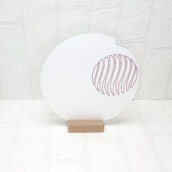30cm Acrylic Circle and Pine base sign (Clear)