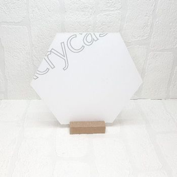30cm  Acrylic Hexagon and pine base sign (Clear)