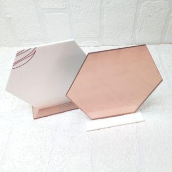 30cm Acrylic Hexagon with base (Clear)