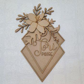 Diamond floral name plaque