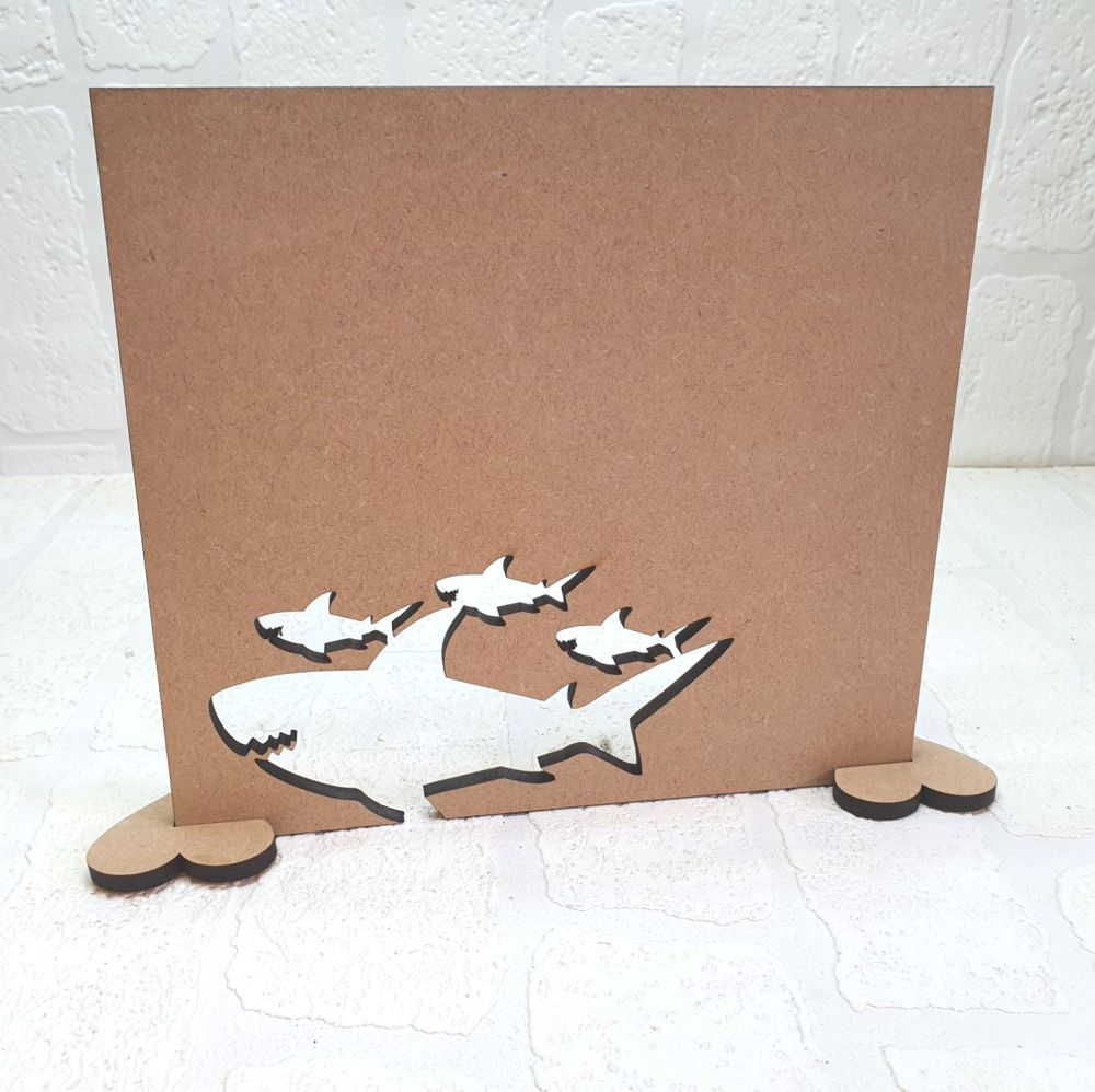 MDF Daddy shark and Pups Plaque