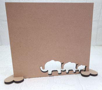MDF Elephant Family Plaque