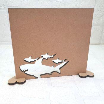 Oak Veneer Daddy shark and Pups Plaque