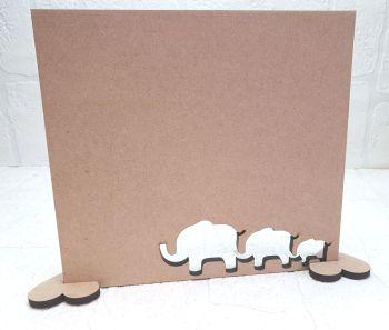 Oak Veneer Elephant Family Plaque