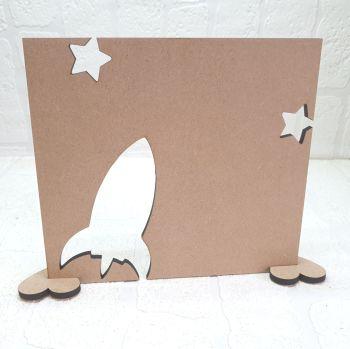 Oak Veneer Rocket and Stars Plaque
