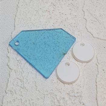Diamond keyring with 3 mini circles (clear)