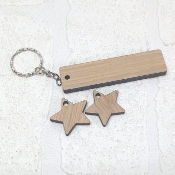 8x2 Rectangle and Star Tag Keyring Set