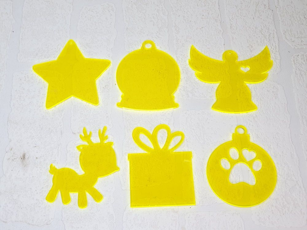 Christmas baubles (various shapes) Clear