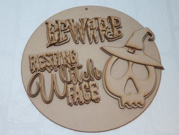 Resting witch face plaque