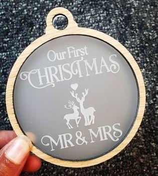 Veneer cutout Mr & Mrs bauble