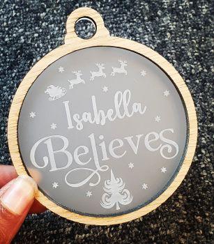Veneer cutout Believe bauble