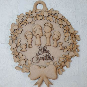 Family Christmas Bauble Plaque