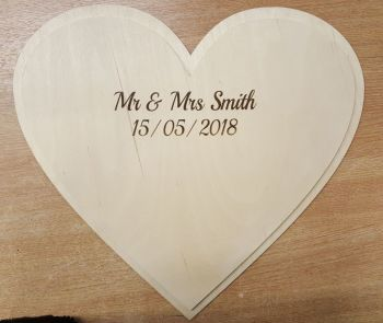 50cm Double Heart Guestbook (post included)