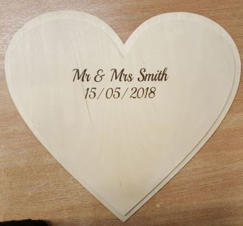 60cm Double Heart Guestbook (post included)