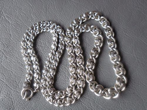 Vintage 835 silver necklace chain; fancy graduated interlinked design