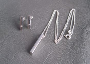 Sterling silver necklace & earring set; rectangles with dainty stone detail