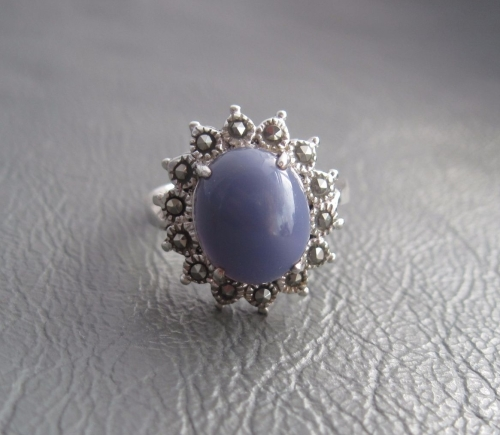 purple? and marcasite cluster ring