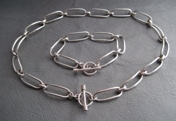 Heavy solid sterling silver necklace & bracelet set