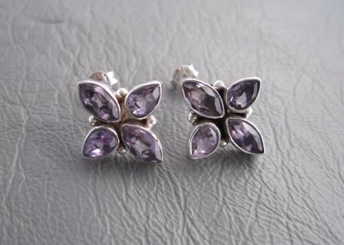 Large sterling silver & amethyst stud earrings