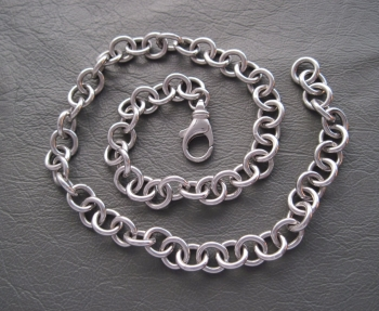 """Heavy & chunky sterling silver rolo chain (17"""", 9mm)"""