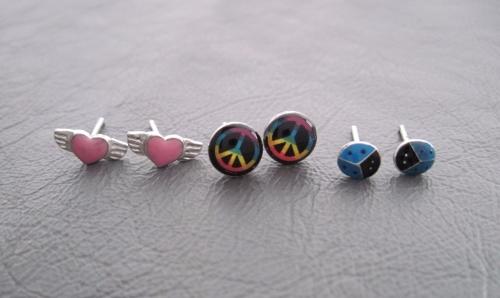 Mixed sterling silver stud earrrings