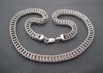 Heavy sterling silver necklace chain with woven circular links