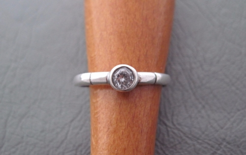 Sterling silver solitaire ring with single stripe shoulders