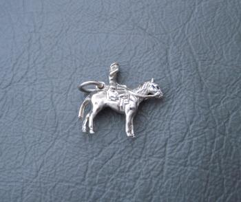 Vintage silver bracelet charm; queen on horseback