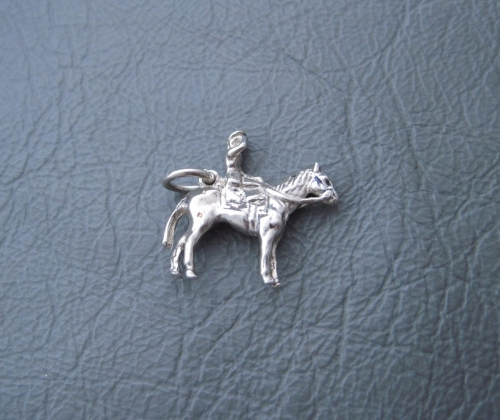Vintage silver bracelet charm / pendant; queen on horseback