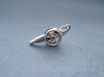 Vintage silver bracelet charm; military cannon