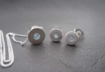 Sterling silver & topaz necklace and earring set (discs)
