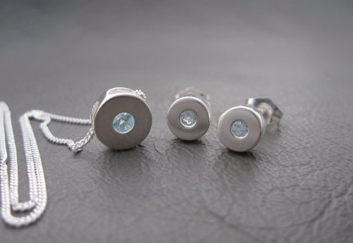 (NEW) Sterling silver pendant and earring set with blue Topaz (#14)