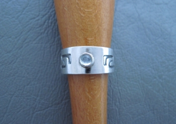 Sterling silver & moonstone ring with a patterned band