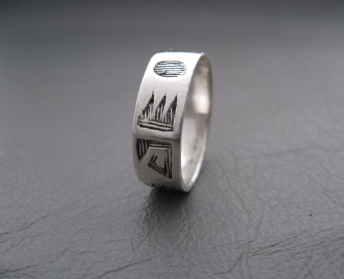 Sterling silver ring; etched band