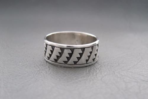 Sterling silver ring; razor band