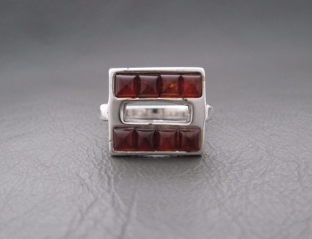 Unusual sterling silver & amber ring