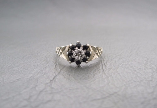 Vintage sterling silver & sapphire cluster ring