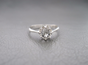 Sterling silver proud prong set solitaire ring
