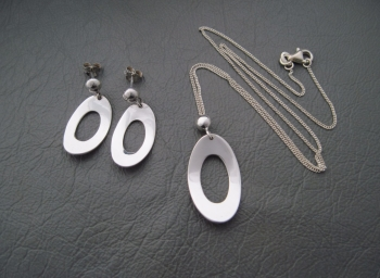 Sterling silver necklace & earring set; gently domed ovals