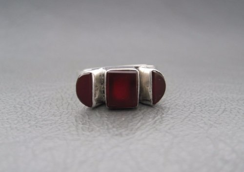 Unusual sterling silver and carnelian ring