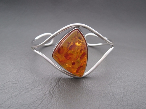 Large sterling silver & amber cuff